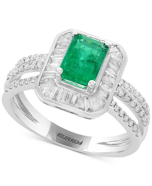 EFFY Collection Brasilica by EFFY® Emerald (9/10 ct. t.w.) & Diamond (3/4 ct. t.w.) Ring in 14k White Gold