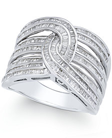 Diamond Baguette Interwoven Statement Ring (1 ct. t.w.) in Sterling Silver