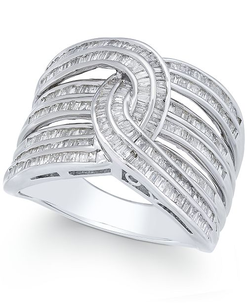 Macy's Diamond Baguette Interwoven Statement Ring (1 ct. t.w.) in Sterling Silver (Also available in gold-plated silver)