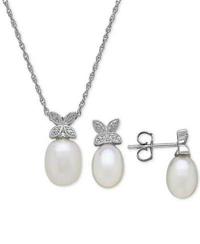 Cultured Freshwater Pearl & Diamond Accent Jewelry Set in Sterling Silver
