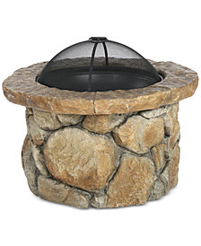 Dustyn Round Iron Wood Fire Pit, Quick Ship