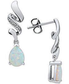 Lab Created Opal (3/4 ct. t.w.) & Diamond Accent Drop Earrings in Sterling Silver