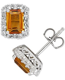 Citrine (2-1/3 ct. t.w.) & White Topaz (3/4 ct. t.w.) Stud Earrings in Sterling Silver