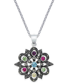 Marcasite & Colored Crystal Openwork Pendant Necklace in Silver-Plate