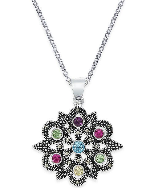 Macy's Marcasite & Colored Crystal Openwork Pendant Necklace in Silver-Plate