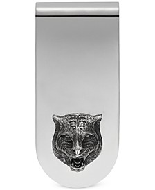 Men's Sterling Silver Cat Head Motif Money Clip