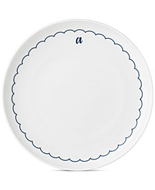 Lenox Navy Scallop Monogram Dinner Plate