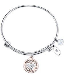 Two-Tone Mother & Daughter Heart Charm Bangle Bracelet in Rose Gold-Tone & Stainless Steel