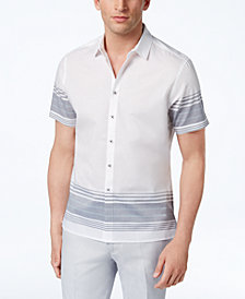 I.N.C. Men's Striped Cotton Shirt, Created for Macy's