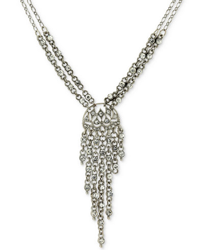 2028 Silver-Tone Multi-Crystal Lariat Necklace
