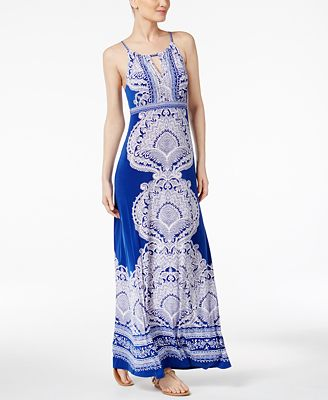 INC International Concepts Petite Printed Embellished Maxi Dress, Created for Macy's