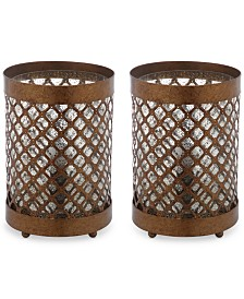 Safavieh Set of 2 Borden Hurricane Bronze-Finish Table Lamps