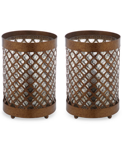 Safavieh Set of 2 Borden Hurricane Bronze-Finish Table Lamps
