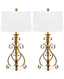 Set of 2 Scroll Sculpture Gold-Tone Table Lamps
