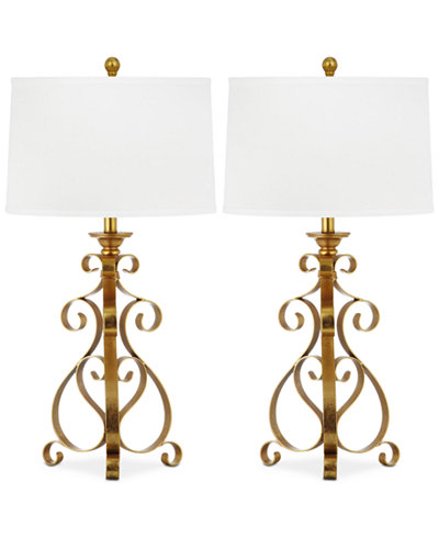 Safavieh Set of 2 Scroll Sculpture Gold-Tone Table Lamps