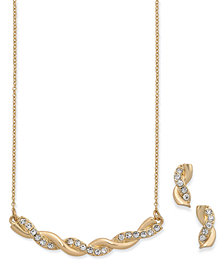 Charter Club Gold-Tone Twisted Pavé Statement Necklace and Stud Earrings Set, Created for Macy's