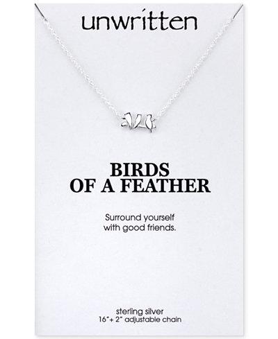 Unwritten Mini Bird Pendant Necklace in Sterling Silver