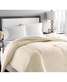 500-Thread Count Damask Stripe King White Down Comforter
