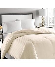 Blue Ridge 500-Thread Count Damask Stripe Twin White Down Comforter