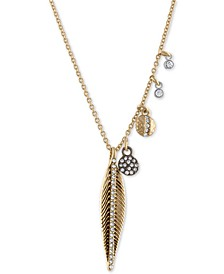 Gold-Tone Multi-Charm Feather Pendant Necklace