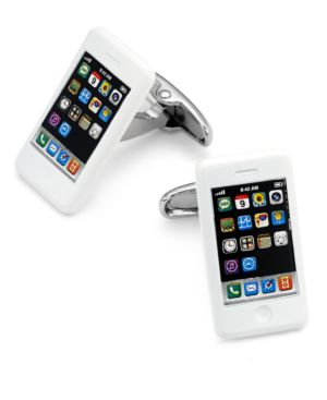 Sutton by Rhona Sutton Men's Silver-Tone iPhone Cufflinks thumbnail
