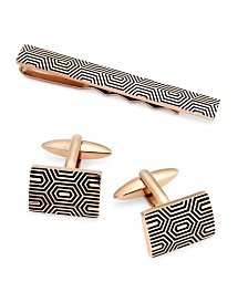 Sutton by Rhona Sutton Men's Gold-Tone Decorative Cuff Links & Tie Bar Set