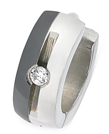 Sutton by Rhona Sutton Men's Two-Tone Stainless Steel Cubic Zirconia Huggie Hoop Earring