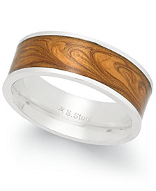 Sutton by Rhona Sutton Men's Stainless Steel Wooden Finish Band