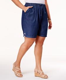 Karen Scott Plus Size Lisa Cotton Pull-On Shorts, Created for Macy's