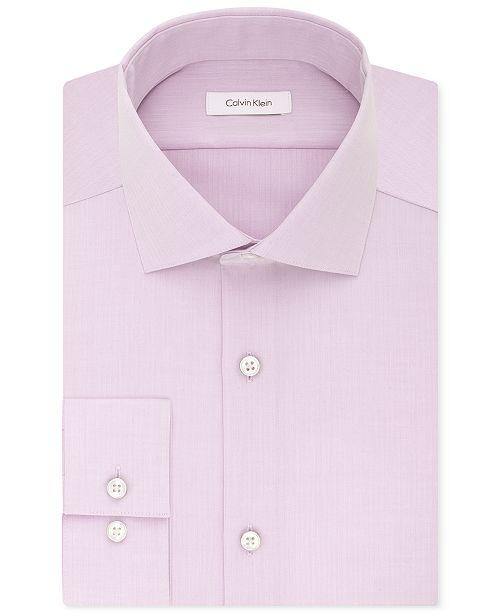 Calvin Klein Men's Slim-Fit Non-Iron Performance Spread Collar Herringbone Dress Shirt