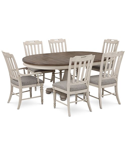 Furniture Barclay Expandable Round Pedestal Dining, 7-Pc. Set (Round Dining Pedestal Table, 4 Upholstered Side Chairs & 2 Upholstered Arm Chairs)