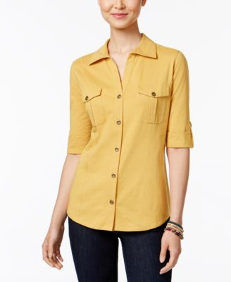 Image of Style & Co Petite Jersey Utility Shirt, Only at Macy's