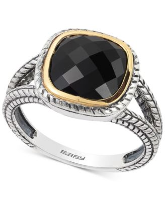 Eclipse by EFFY® Onyx Ring in Sterling Silver & 18k Gold