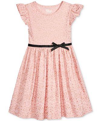 Epic Threads Metallic-Print Flutter-Sleeve Dress, Toddler & Little Girls (2T-6X), Created for Macy's