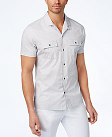 I.N.C. Men's Camp-Collar Dot-Pattern Shirt, Created for Macy's