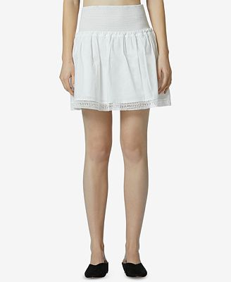 Avec Les Filles Cotton Tiered Mini Skirt