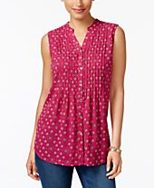 Charter Club Print Sleeveless Shirt, Created for Macy's
