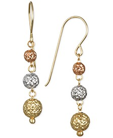 Tri-Color Textured Ball Triple Drop Earrings in 10k Yellow, White and Rose Gold