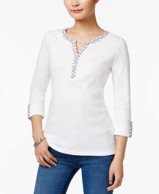 Image of Karen Scott Cotton Roll-Tab Henley Top, Created for Macy's