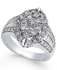 Diamond Marquise-Style Cluster Ring (2 ct. t.w.) in 14k White Gold