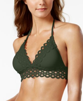Siren Eyelet-Trim Halter Bikini Top, Available in D