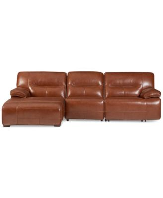 Beckett 3 Pc Leather Sectional Sofa With Chaise U0026 2 Power Recliners,  Created For Macyu0027s
