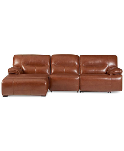 CLOSEOUT! Beckett 3-pc Leather Sectional Sofa with Chaise & 2 Power Recliners, Created for Macy's