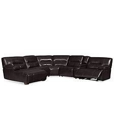 CLOSEOUT! Beckett 6-pc Leather Sectional Sofa with Chaise, Console and 1 Power Recliner, Created for Macy's