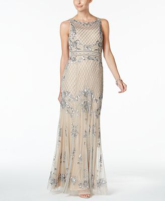 Adrianna Papell Petite Illusion Embellished A-Line Gown
