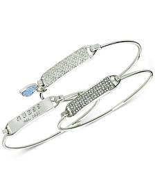 Silver-Tone 3-Pc. Set Pavé & Blue Stone Bangle Bracelets