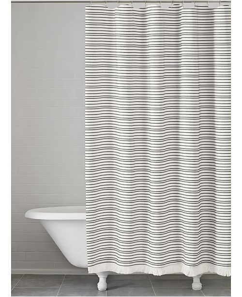 Kassatex Halsey Cotton Stripe Shower Curtain