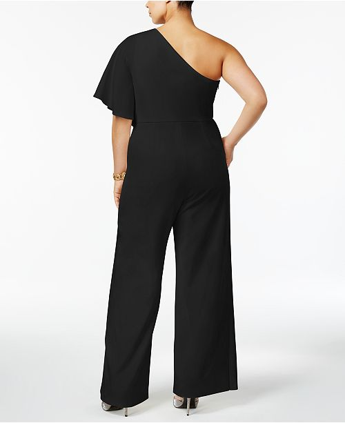 00f993b917ac Adrianna Papell Plus Size Draped One-Shoulder Jumpsuit   Reviews ...