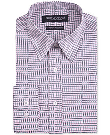 Nick Graham Men's Modern Fitted Stretch Performance Blue Geometric Print Dress Shirt