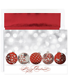 Masterpiece Sparkling Ornaments  Set of 16 Boxed Holiday Greeting Cards with Envelopes